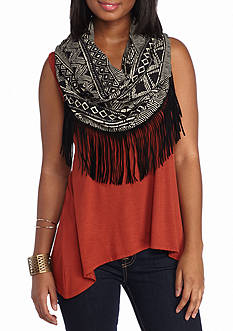 A Byer Sleeveless Scarf Knit Top