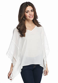 A. Byer Solid Crochet Trim Poncho Top