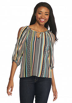 A. Byer Printed Split Sleeve Blouse