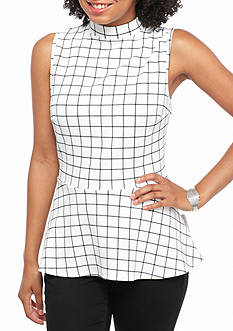 A. Byer Plaid Peplum Top