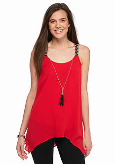 A Byer Sleeveless Tunic Tassel Necklace Top