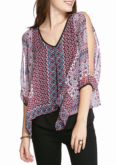 A. Byer Split Front Printed Top