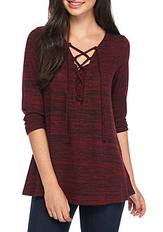 A. Byer Lace Up Space Dye Swing Top