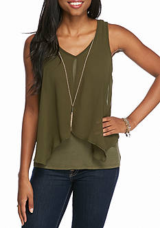 A. Byer Sleeveless Split Front Top