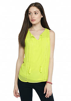 A Byer Sleeveless Smock Neckline Top
