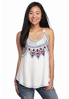 A Byer Embroidered Neck Woven Tank