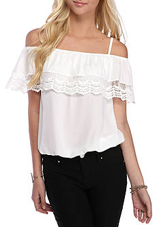 A. Byer Lace Trim Cold Shoulder Top