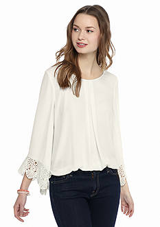 A. Byer Solid Crochet Trim Bell Sleeve Blouse