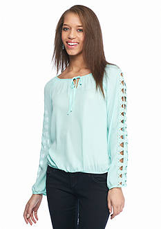 A. Byer Solid Lattice Sleeve Blouse