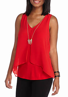 A Byer Sleeveless Knit Top With Necklace