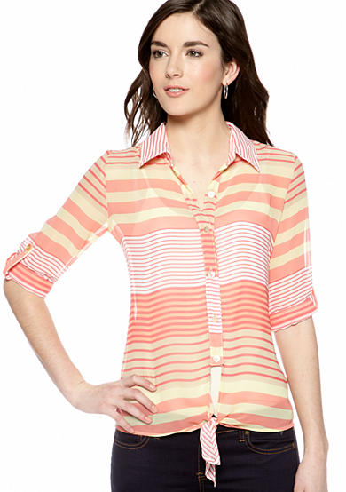 A. Byer Coral Stripe Tie Front Button Down
