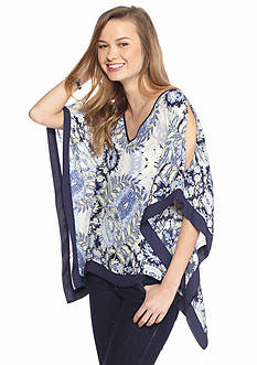 A. Byer Printed Poncho Top