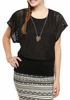 A. Byer Texture Banded Waist Necklace Top
