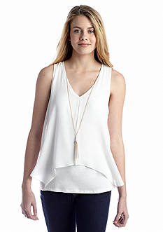 A. Byer Knit To Woven Tank With Necklace