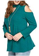 A. Byer Plus Size Rib Swing Tunic Top