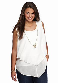 A. Byer Plus Size Pointed Hem Top with Necklace