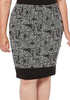 Rafaella Plus Size Distressed Tile Path Skirt
