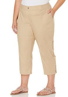 Rafaella Solid Poplin Capri Pant with Zipper Pockets