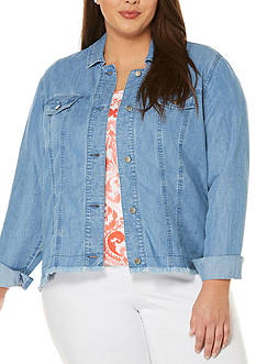 Rafaella Plus Size Long Sleeve Cropped Jean Jacket with Fringe Hem
