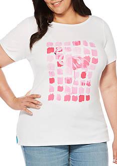 Rafaella Plus Size Flamingo Graphic Tee