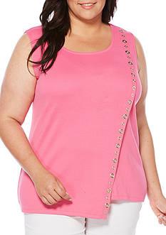 Rafaella Plus Size Sleeveless Asymmetrical Grommet Top