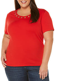 Rafaella Plus Size Short Sleeve Lattice Trim Top