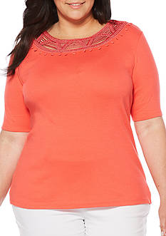 Rafaella Plus Size Solid Elbow Sleeve Top