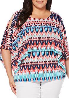 Rafaella Plus Size Ikat Cold Shoulder Printed Top