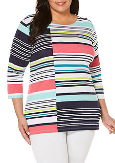 Rafaella Plus Size Shift Stripe Engineered Printed Tunic