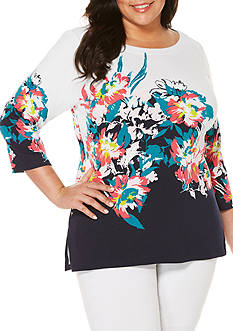 Rafaella Plus Size Engineered Printed Tunic