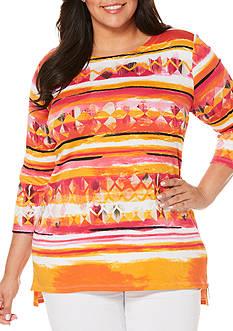 Rafaella Plus Size Striped Rib Top