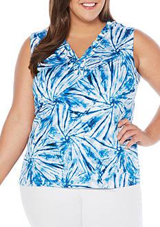 Rafaella Plus Size Tie Dye Swirls Sleeveless Top