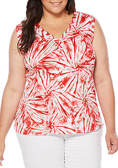 Rafaella Plus Size Tie Dye Swirls Sleeveless Top
