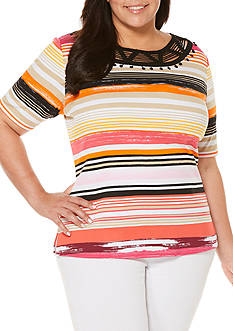 Rafaella Plus Size Striped Top