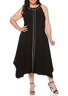 Rafaella Plus Size Sleeveless High Low Shark Bite Dress