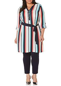 Rafaella Plus Size Garden Stripe Textured Tie Front Tunic