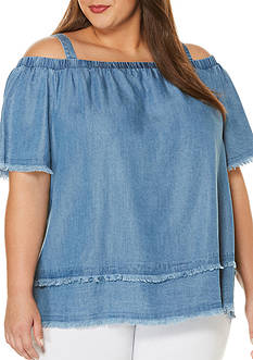 Rafaella Plus Size Peasant Off-the-Shoulder Top