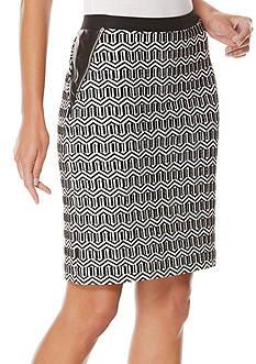 Rafaella Petite Size Pencil Geo Jacquard Skirt