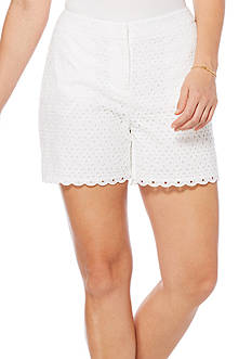Rafaella Petite Eyelet Scalloped Edge Shorts