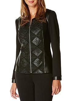 Rafaella Petite Size Lace Overlay Leather Jacket
