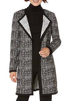 Rafaella Petite Size Cross Hatched Jacquard Coat