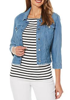 Rafaella Petite Long Sleeve Jean Jacket with Fringe Hem