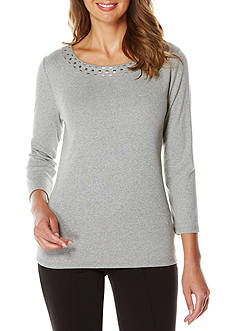 Rafaella Petite Size 3/4 Sleeve Embellished Scoop Neck Top