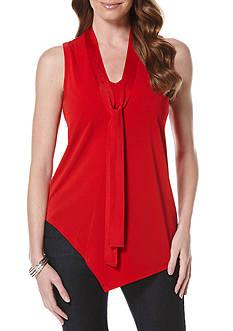Rafaella Petite Size Asymmetrical Knit Crepe Top