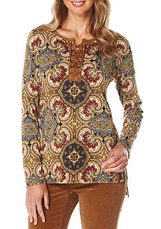 Rafaella Petite Size Lace Up Paisley Top