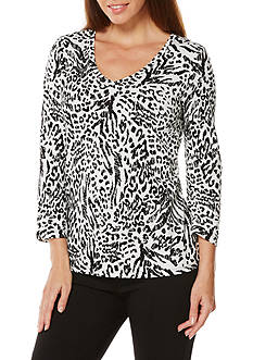 Rafaella Petite Size 3/4 Sleeve V-Neck Animal Print Tee