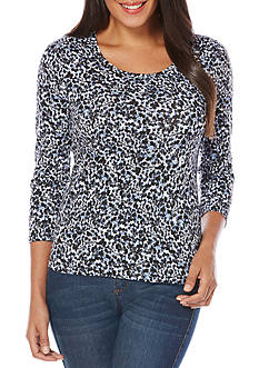 Rafaella Petite Size 3/4 Sleeve Printed Scoop Neck Tee