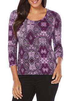 Rafaella Petite Size 3/4 Sleeve Paisley Top