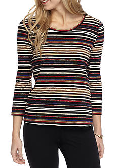 Rafaella Petite Size 3/4 Sleeve Watercolor Stripe Top