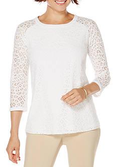 Rafaella Petite Size Lacy 3/4 Sleeve Top